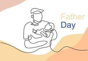abrazos de un padre con un niño dibujo continuo de una línea vector