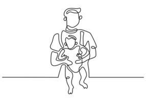 un dibujo de línea continua de un padre joven con su hijo vector