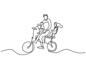 Father with his little son and daughter riding bicycles together continuous one line hand drawn art minimalist style vector