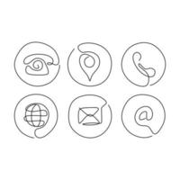 Continuous one line of communication icons Phone map globe mail and at symbol in single line style isolated on white background vector