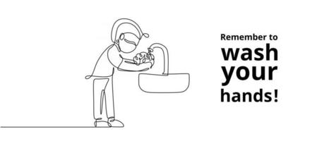 Continuous one line of person washing hand vector