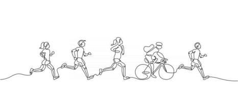 una línea continua de personas haciendo jogging y ciclismo vector