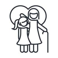 grandmother and little daughter in love heart family day icon in outline style vector