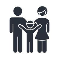 father mother and son happy members family day icon in silhouette style vector