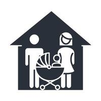 father mother and baby in pram house family day icon in silhouette style vector