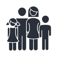 parents and kids relation feelings family day icon in silhouette style vector