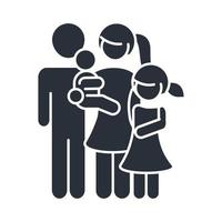 father mother carrying a little son and daughter family day icon in silhouette style vector