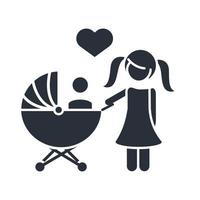 little daughter with baby in pram family day icon in silhouette style vector