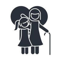 grandmother and little daughter in love heart family day icon in silhouette style vector