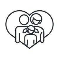 father mother and daughter in love heart together family day icon in outline style vector