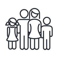 parents and kids relation feelings family day icon in outline style vector