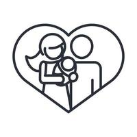 parents with baby in love heart realtionship together family day icon in outline style vector