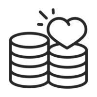 donación caridad voluntario ayuda social pila de monedas dinero amor icono de estilo de línea vector