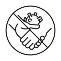 Forbidden handshake line style icon vector design