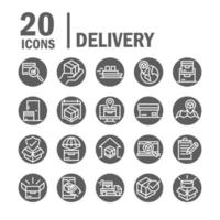 delivery cargo service logistic shipping commerce icons set block style vector