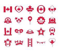 canada day independence freedom national patriotism celebration icons set flat style icon vector