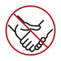 Forbidden handshake line bicolor style icon vector design
