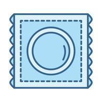 salud sexual, anticoncepción, condón, línea, relleno, azul, icono vector