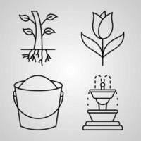 Collection of Farming And Gardening Symbols in Outline Style vector