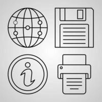 conjunto de iconos simple de iconos de línea relacionados con la web vector