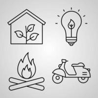 Simple Icon Set of Ecology Related Line Icons vector