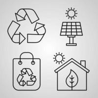 Ecology Icon Collection White Color Background vector
