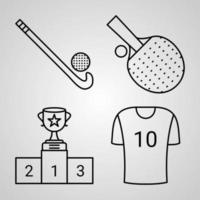 Outline Sports And Games Icons isolated on White Background vector