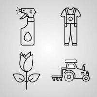 Set of Farming And Gardening Icons Vector Illustration Isolated on White Background
