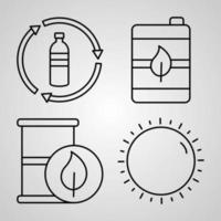 Ecology Line Icons Set Isolated On White Outline Symbols Ecology vector