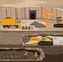 Landscape of coal mining with underground scene vector