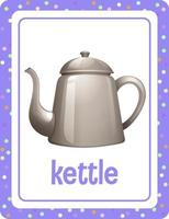 Vocabulary flashcard with word Kettle vector