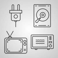 Electronics And Devices Line Icons Set Isolated On White. Outline Symbols Electronics And Devices vector
