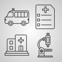 Medical Line Icons Set Isolated On White. Outline Symbols Medical vector