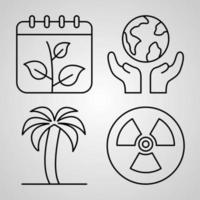 Ecology Symbol Collection On White background. Ecology Outline Icons vector