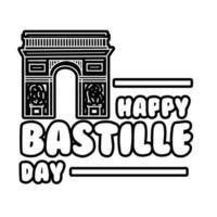 bastille day lettering with Arch of Triumph line style vector