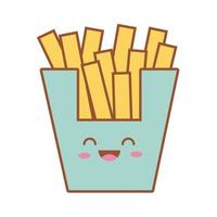 delicious french fries fast food kawaii line and fill style vector