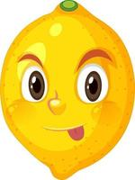 Lemon cartoon character with naughty face expression on white background vector