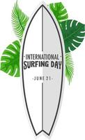 International Surfing Day font on surfboard banner with tropical leaves isolated vector