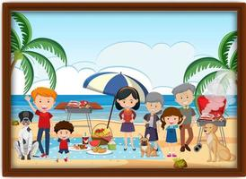 A picture of happy family picnic at the beach in a frame vector