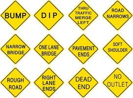 Set of warning road signs on white background vector