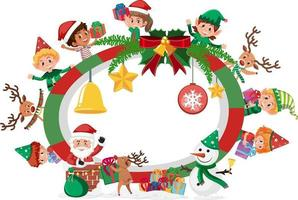 Empty banner with many kids in Christmas theme vector
