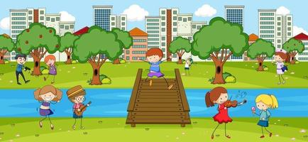 Scene with many kids doodle cartoon character in the park vector