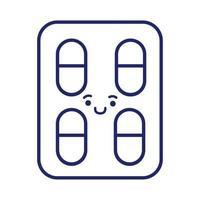 pastillas sellan drogas estilo de línea kawaii vector