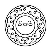 sweet donut kawaii line style icon vector