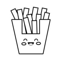 delicious french fries fast food kawaii line style vector