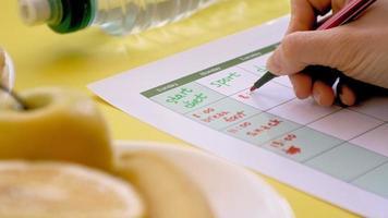 Filling out a Diet Calendar video