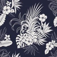 Seamless pattern with tropical leaves and flowers. elegant dark blue and white exotic background vector