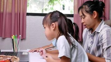 Cute sibling schooling girls deliberately learning to draw through the laptop computer in the living room with mother Home school concept Kindergarten online education video