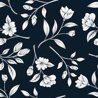 Classical seamless pattern with botanical floral design vector