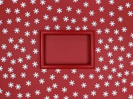 Frame and snowflakes confetti on a red background. photo